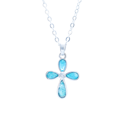 FLOWER CROSS NECKLACE with gift box