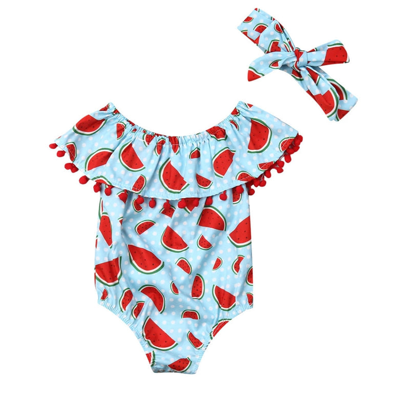 Body Bebê Estampa Melancia com Tiara - Boutique Baby Kids