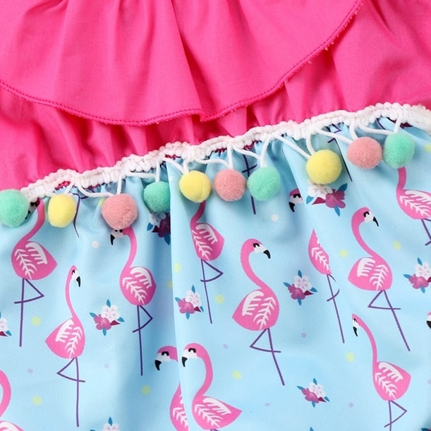 Body Bebê Estampa Flamingo com Pompons