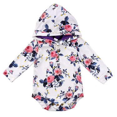 Body Bebê Floral com Capuz - Boutique Baby Kids