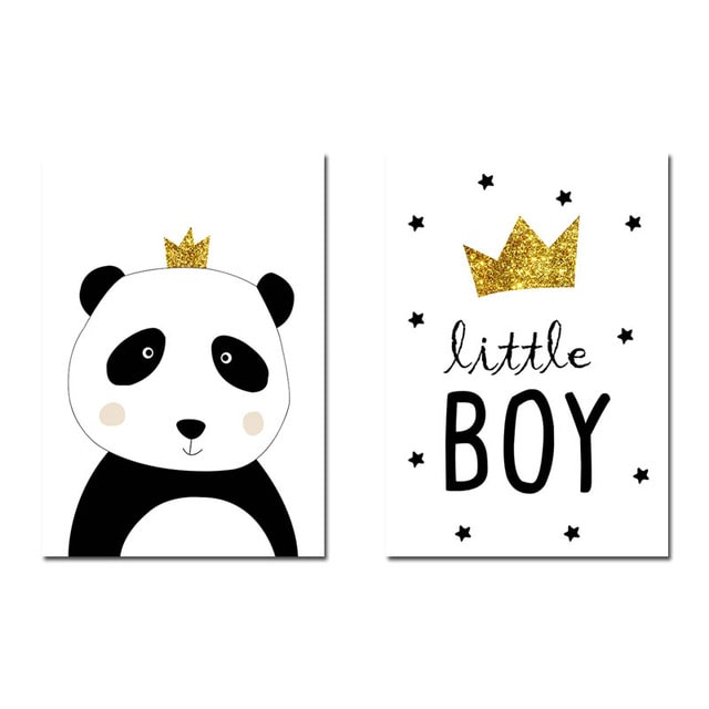 Kit com 2 Quadros Decorativos Panda