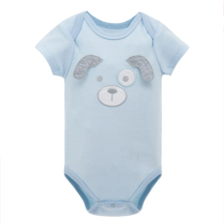 Kit com 2 Bodies Bebê Cachorrinho Azul - Boutique Baby Kids