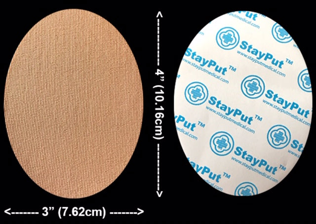 "StayPut DB4 - Solid Patch, 3"" x 4"" Oval Beige (10 pack)"