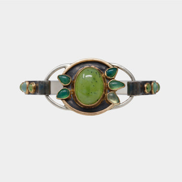 Vesuvianite and Gem Silica Chrysocolla Tension Bracelet