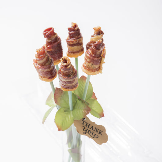 Half Dozen Bacon Roses in a Birthday Vase