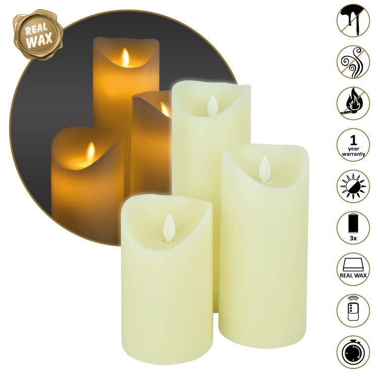 LED Wax kaarsen set 3