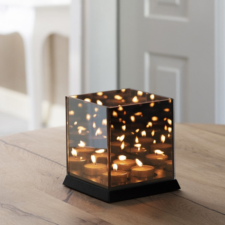 Candle Light Mirror Glass Zwart
