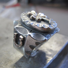 Lucky clover Mexican Biker Ring