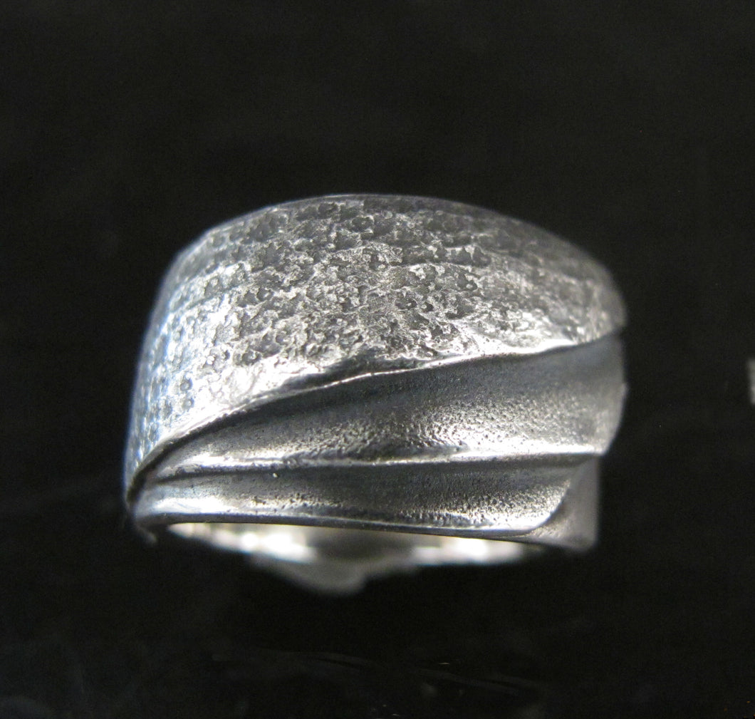Hammered Deco Wing  Wedding Band