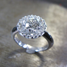 Platinium Old Miners Cut Halo Engagement Ring