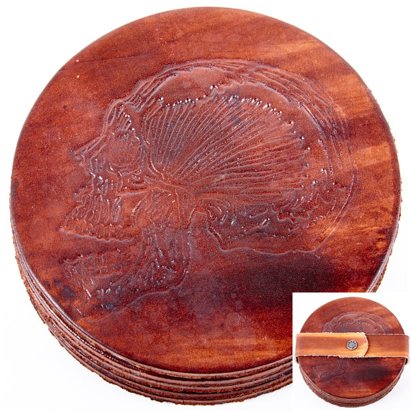 Leather Drink Coaster/Skull