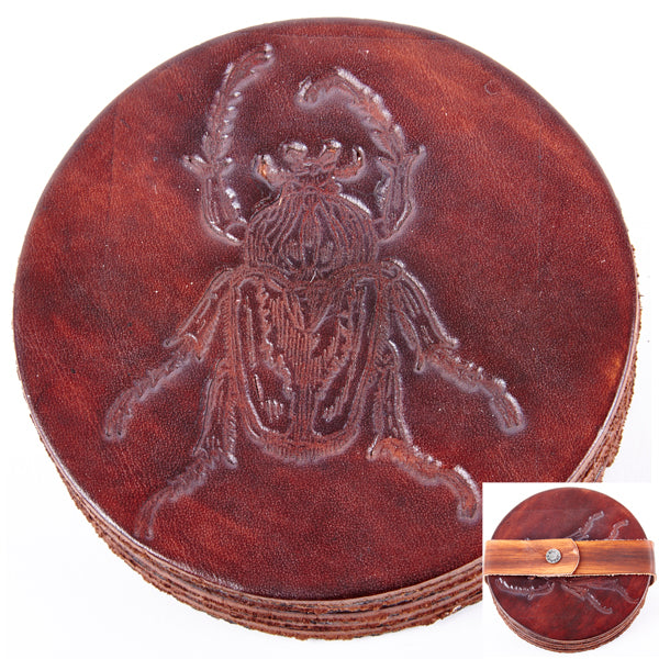 Leather Drink Coaster/Beetle