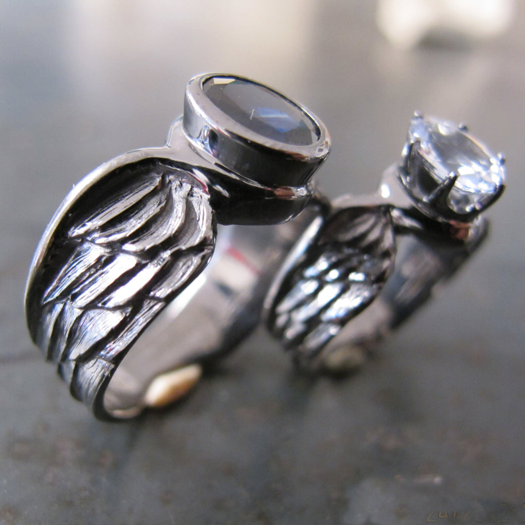 His & Hers Winged Opal Wedding Bands