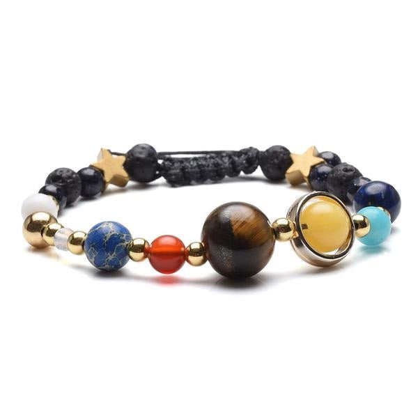Unique Elegant Handmade Nine Planet Guardian Star Natural Stone Bead Bracelet