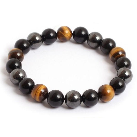 Exquisite Tiger Eye Hematite Black Obsidian Natural Stone Bracelet