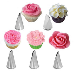 Stainless Steel Rose Petal Metal Cream Tips Cake Decorating Tools Piping Nozzles - 5 Pcs