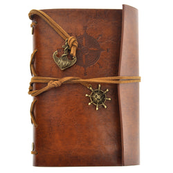 Retro Vintage Pirate Anchor PU Cover Loose-leaf String Bound Blank Notebook