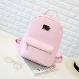 Student Backpack Small Size Black PU Leather