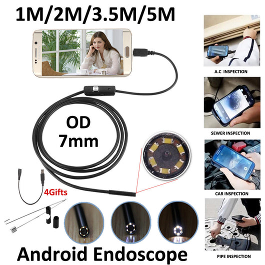 Waterproof HD Borescope Endoscope Inspection Tube Camera with 6 LED USB Adapter (included) for Android Device with OTG function