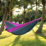 Double Parachute Camping Hammock + 2 GUY ROPES + 2 Strong Carabiners