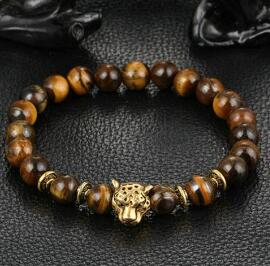Idiosyncratic Leopard Head Tiger Eye Bead Bracelet