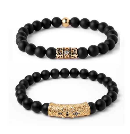 Distinctive Double Crown Black Matte Stone Beaded Bracelets