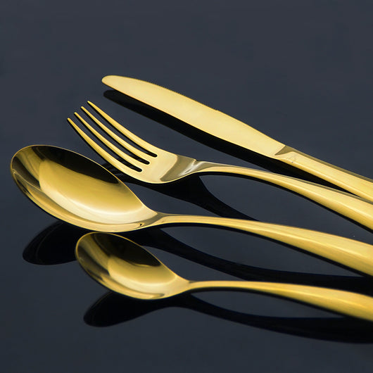 Exquisite Gold Stainless Steel Cutlery - 4-Piece Set
