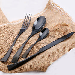 Jet Black Stainless Steel Cutlery - 4-Piece Set