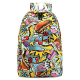 Student Backpack Graffiti Canvas School Bag