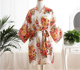 Women's Kimono Bath Gown Floral Brides Robe Dress Nightgown Short Sleepwear