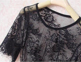 Women Sexy Round Neck Lace Sleepwear Dress Underwear Nightgown