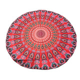 Hot Round Indian Mandala Tapestry Peacock Printed Beach Yoga Towel