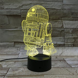 Cartoon 3D Light - 7 Colors Remote & Touch Switch LED Visual Night Light
