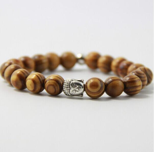 Natural Wooden Bead With Buddha Head Bracelet