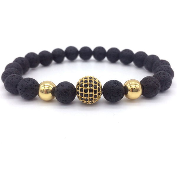 High Quality 8mm Lava Matte Stone Beads And CZ Ball