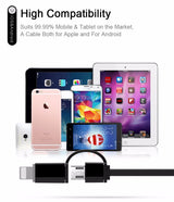 Super All-in-One Retractable iOS, Android, USB and Micro USB Lightning Sync & Charge Cable