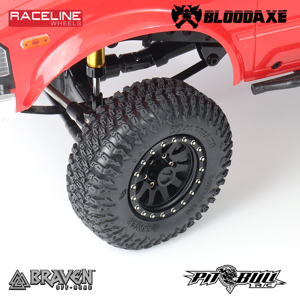 PB9022AK -  BRAVEN BLOODAXE 3.45X1.11-1.55 SCALE RC TIRES + FOAM // Alien Kompound - 2PC