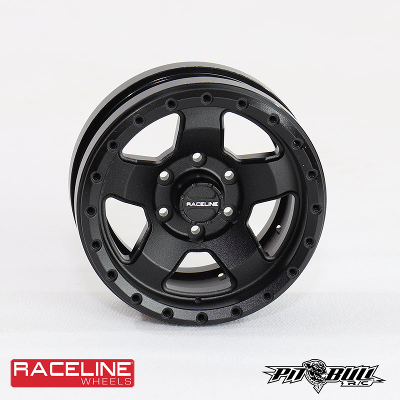 "1.55 & 1.9 RACELINE Scale ""Combat"" Aluminum Beadlock Wheels  (Black or Silver)- 4pcs"