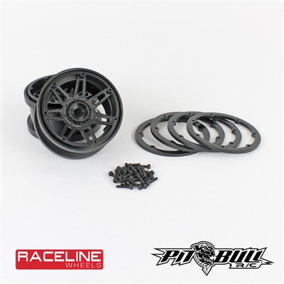 1.9 & 2.2 RACELINE #931 INJECTOR SCALE - BEADLOCK WHEELS// BLACK, CHROME OR GUN METAL WHEELS, MIXED RINGS (INCLUDES 2WHEELS, 4RINGS, 28 SCREWS)