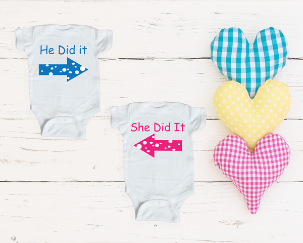 Baby Onesie- He did it/She did it (twin set)
