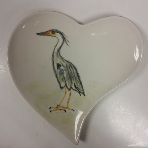 Heart Plate with Bird