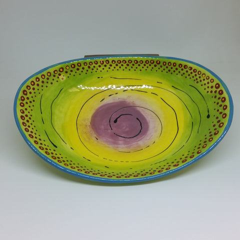 Bowl - Green with Swirls