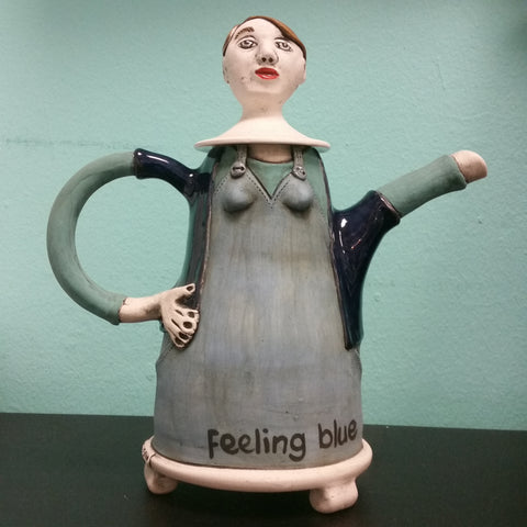 Feeling Blue Lady Teapot front