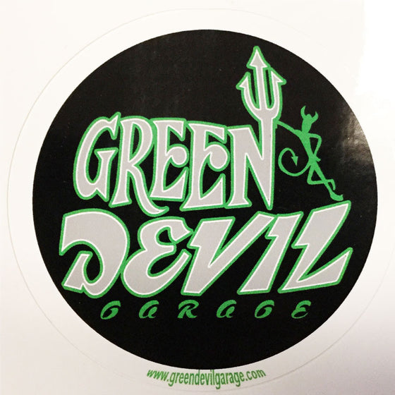 LARGE GREEN DEVIL ROUND STICKER