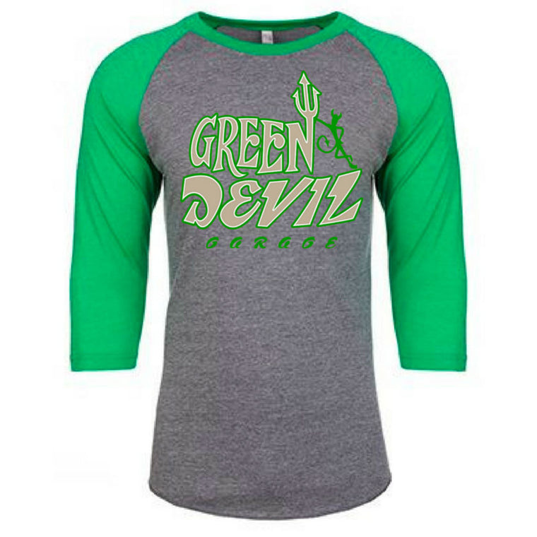 RAGLAN TEE SHIRT - GREY/GREEN