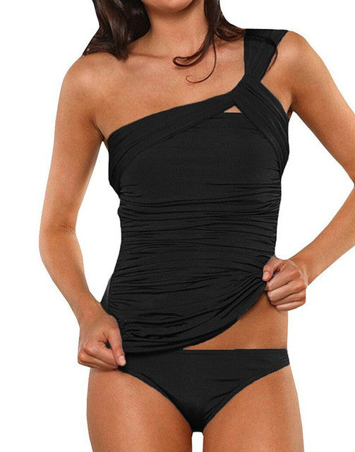 Tankini one shoulder swimsuit