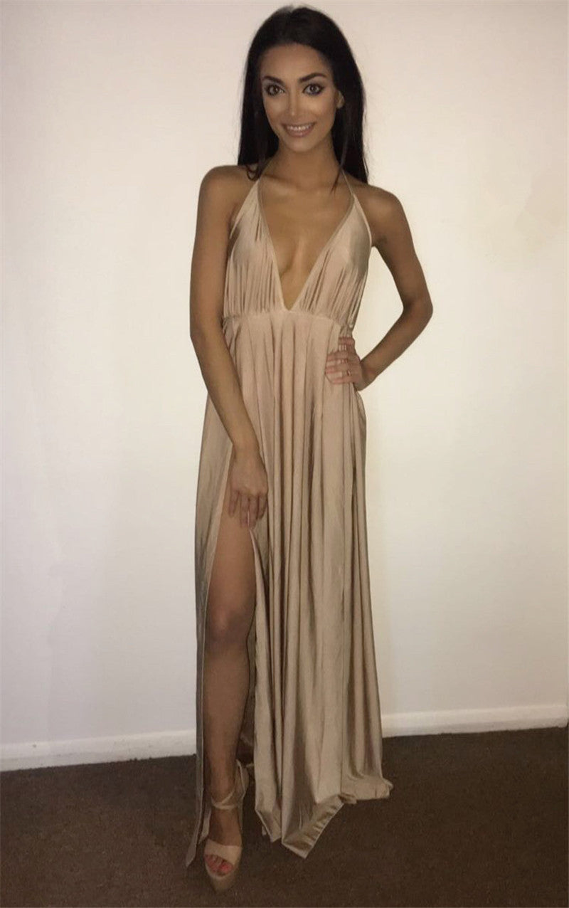 Backless Sexy High Slit Dress
