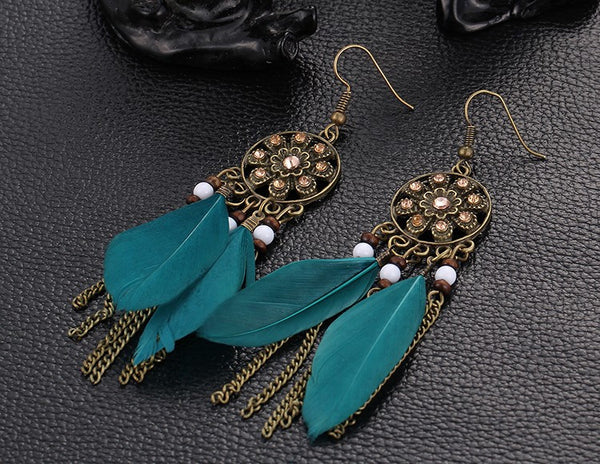 Rhinestone Punk Feather Earrings