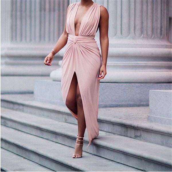 V neck Backless Pleated Maxi dress