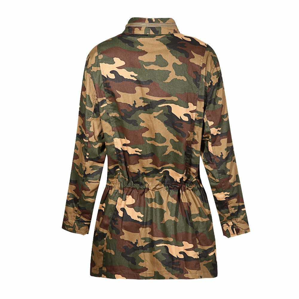 Loose Camouflage Coat Stand Collar,  - By Classier